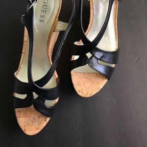 New Guess leather upper cork wedge sandals